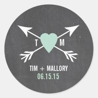 Chalkboard Mint Heart + Arrow   Wedding Stickers