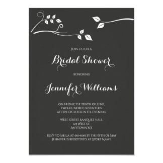 Chalkboard modern branch bridal shower invitations
