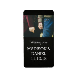 Chalkboard Modern Photo Wedding Wine Label