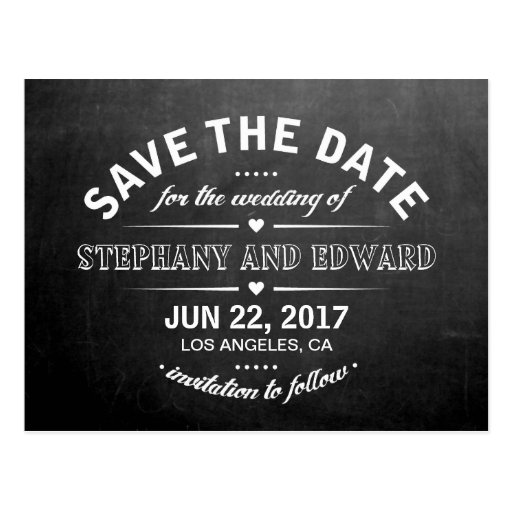 Chalkboard Modern Save the Date Text Postcard