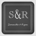 Chalkboard Monogram Envelope Seal Square Stickers