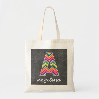 Chalkboard Monogram Letter A with Bright Chevrons Budget Tote Bag