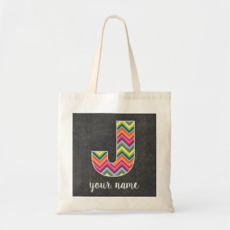 Chalkboard Monogram Letter J with Bright Chevrons Tote Bag