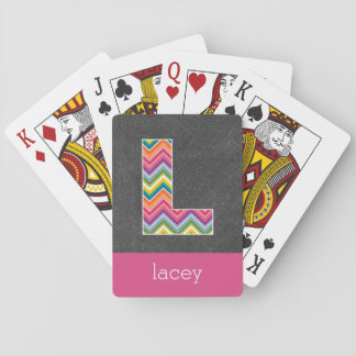 Chalkboard Monogram Letter L with Bright Chevrons Playing Cards