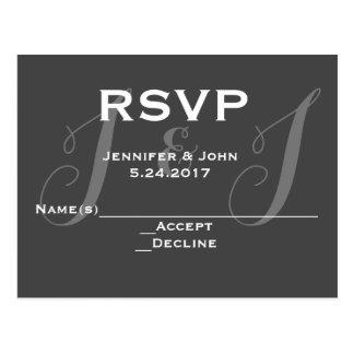 Chalkboard monogram RSVP cards Postcard