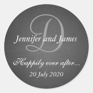Chalkboard Monogram Stickers for Wedding Favors