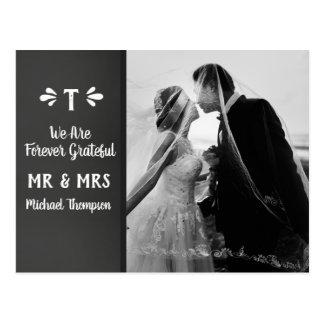 Chalkboard Monogram Thank You Wedding Photo Postcard