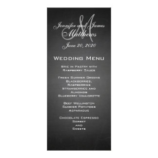 Chalkboard Monogram Wedding Menu Card Rack Cards