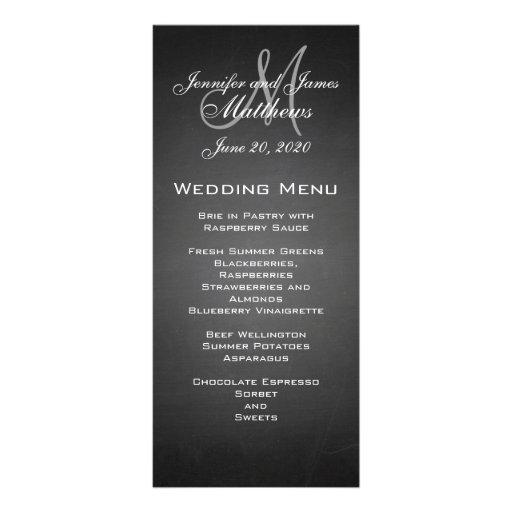 Chalkboard Monogram Wedding Menu Card Rack Card Design
