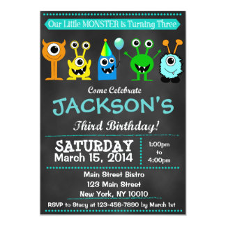 Chalkboard Monster Third Birthday Invitation