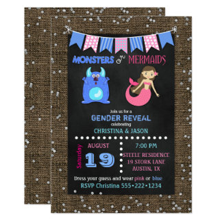 Chalkboard Monsters or Mermaids Gender Reveal Card