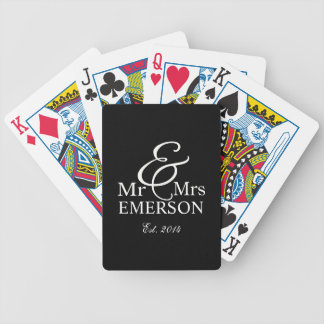Chalkboard - Mr & Mrs custom name Bicycle Playing Cards