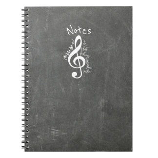 Chalkboard Music Is What Feelings Sound Like Quote Spiral Note Books