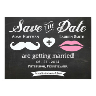 """Chalkboard Mustache and Lips Save the Date 5"""" X 7"""" Invitation Card"""
