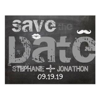 Chalkboard Mustache Lips Vintage Save the Date Postcard