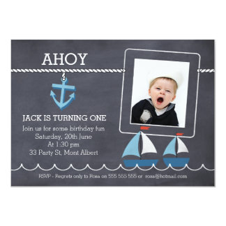 Chalkboard Nautical Sail Boats Birthday Invitation