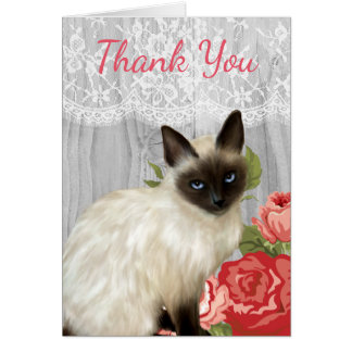 Chalkboard Notecard with Painted Siamese Cat