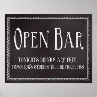 Chalkboard Open Bar Wedding Reception Sign