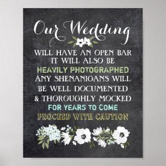 Chalkboard Open Bar Wedding Sign Floral Funny Poster