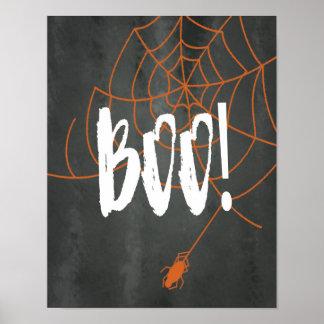 Chalkboard Orange Spider Web Halloween Boo! Sign Poster