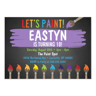 Chalkboard Painting Party/Art Party Invitatoin Card