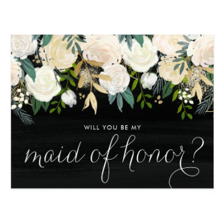 Chalkboard Pale Peonies Be My Maid of Honor Postcard