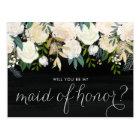 Chalkboard Pale Peonies Be My Maid of Honour Postcard