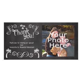 Chalkboard Palm Tree Beach Wedding Photo Thank You Card