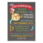 Chalkboard Pancakes and Pyjamas Birthday Party Card