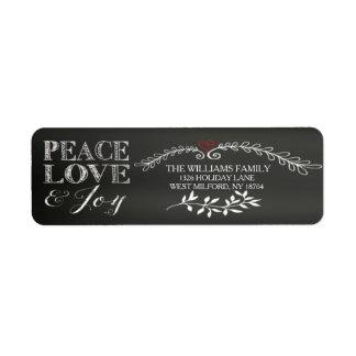 Chalkboard Peace Love Joy Holiday Return Address Label