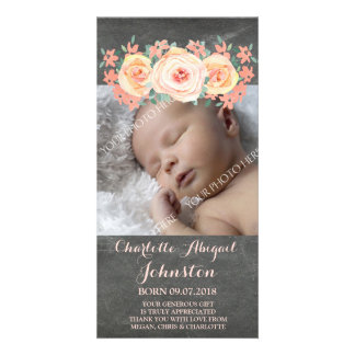 Chalkboard Peach Flowers Thank You Baby Shower Photo Card Template