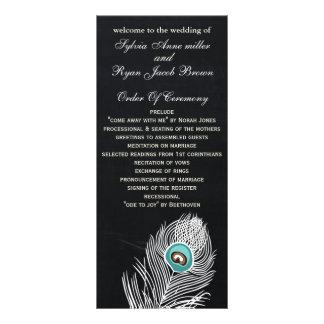 Chalkboard peacock wedding programs tea length rack card