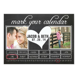 Chalkboard Photo Save the Date Calendar Card