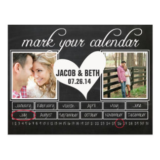 Chalkboard Photo Save the Date Calendar Postcard
