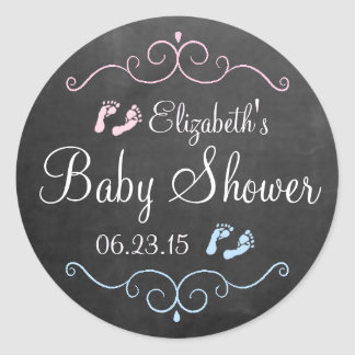 Chalkboard Pink and Blue Baby Shower Classic Round Sticker