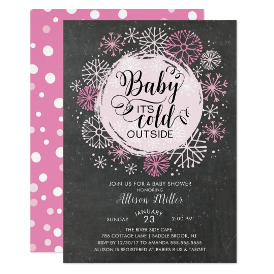 Chalkboard Pink Baby It's Cold Outside Invitation