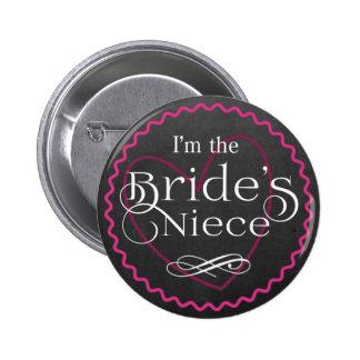Chalkboard Pink Heart Wedding   Bride's Niece 2 Inch Round Button