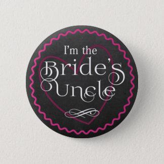 Chalkboard Pink Heart Wedding | Bride's Uncle 2 Inch Round Button
