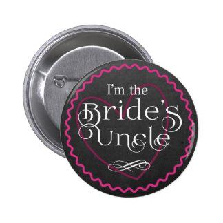 Chalkboard Pink Heart Wedding   Bride's Uncle 2 Inch Round Button