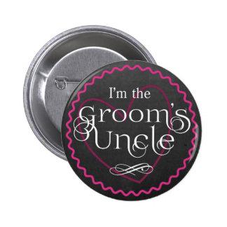 Chalkboard Pink Heart Wedding   Groom's Uncle 2 Inch Round Button