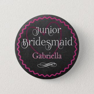 Chalkboard Pink Heart Wedding | Junior Bridesmaid 2 Inch Round Button