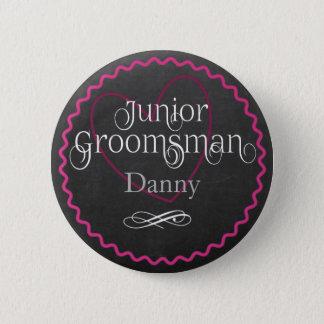Chalkboard Pink Heart Wedding | Junior Groomsman 2 Inch Round Button