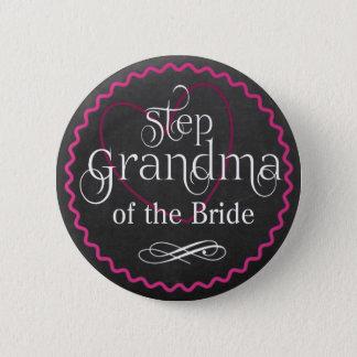 Chalkboard Pink Heart Wedding | Step Grandma Bride 2 Inch Round Button