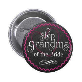 Chalkboard Pink Heart Wedding   Step Grandma Bride 2 Inch Round Button