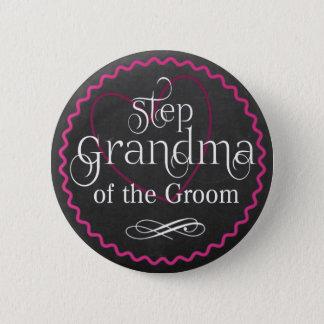 Chalkboard Pink Heart Wedding | Step Grandma Groom 2 Inch Round Button