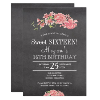 chalkboard pink peonies chic floral sweet sixteen card