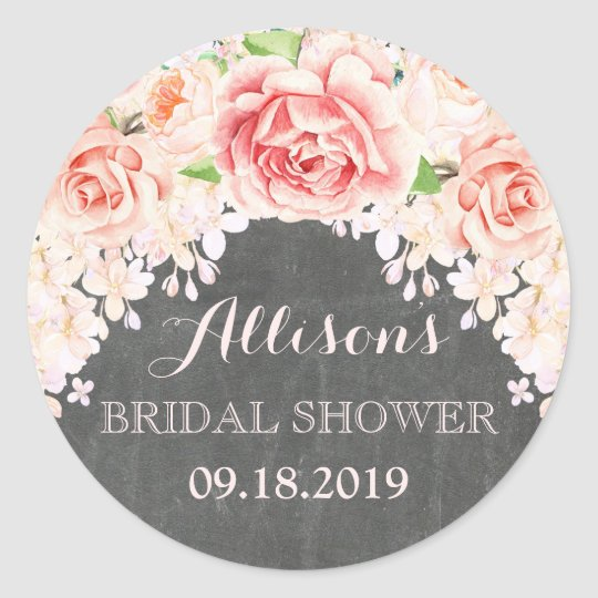 Chalkboard Pink Watercolor Flowers Bridal Shower Classic Round Sticker