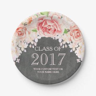 Chalkboard Pink Watercolor Flowers Graduation 2017 Paper Plate