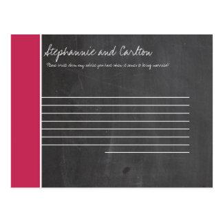 Chalkboard Pink Wedding Advice Card Postcard