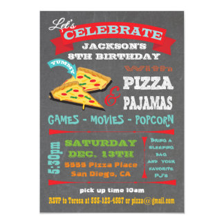 Chalkboard Pizza & Pajamas Birthday Party Card